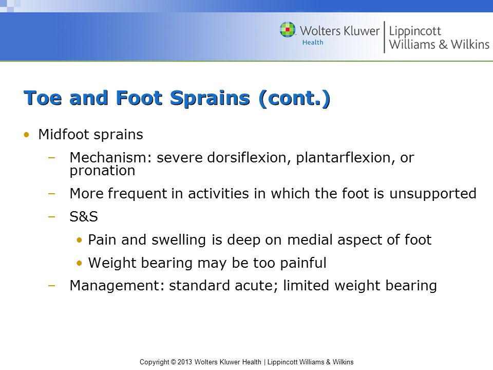 Toe and Foot Sprains (cont.)