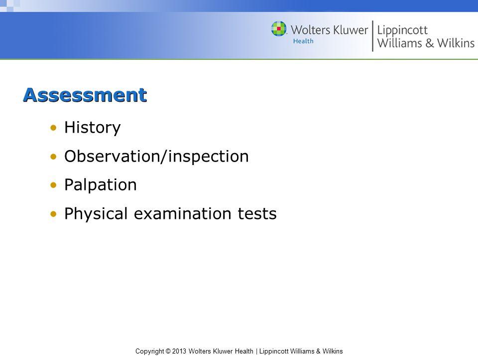 Assessment History Observation/inspection Palpation