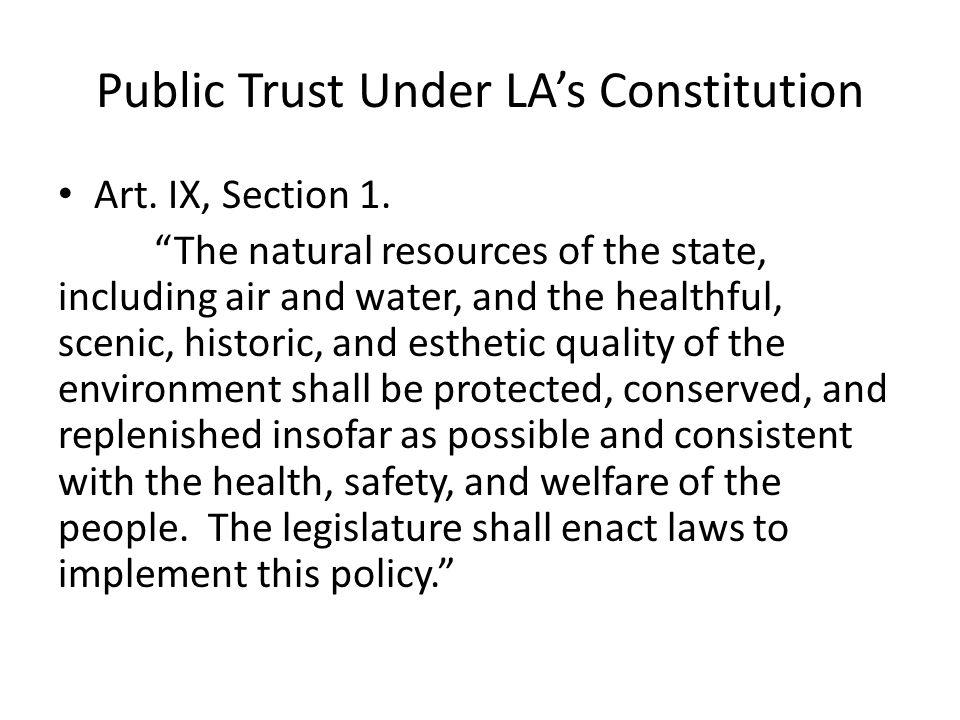 Public Trust Under LA's Constitution