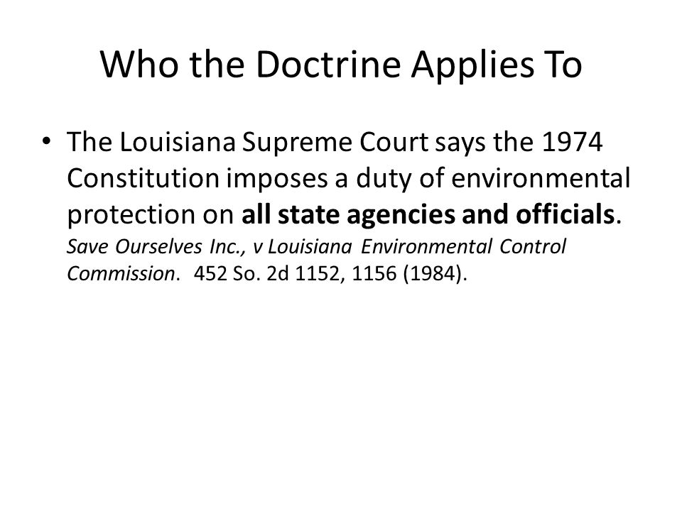 Who the Doctrine Applies To