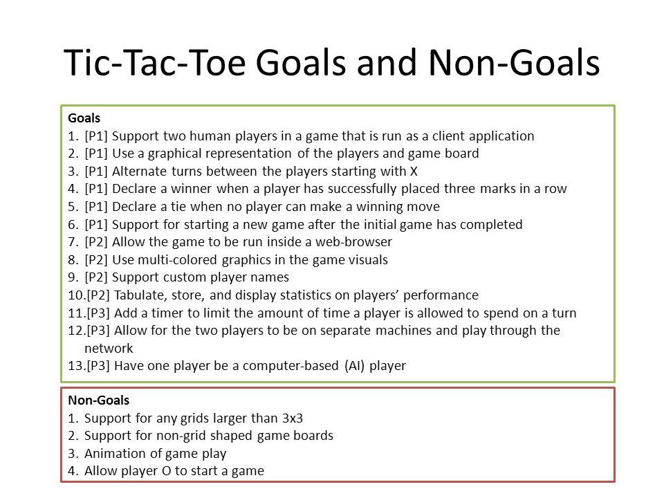 Tic-Tac-Toe Goals and Non-Goals