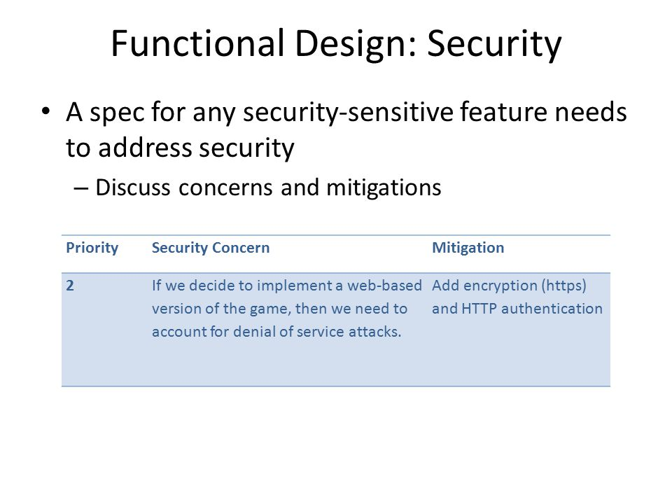 Functional Design: Security