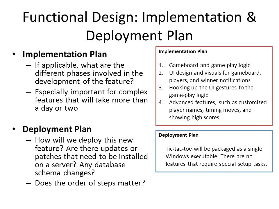 Functional Design: Implementation & Deployment Plan