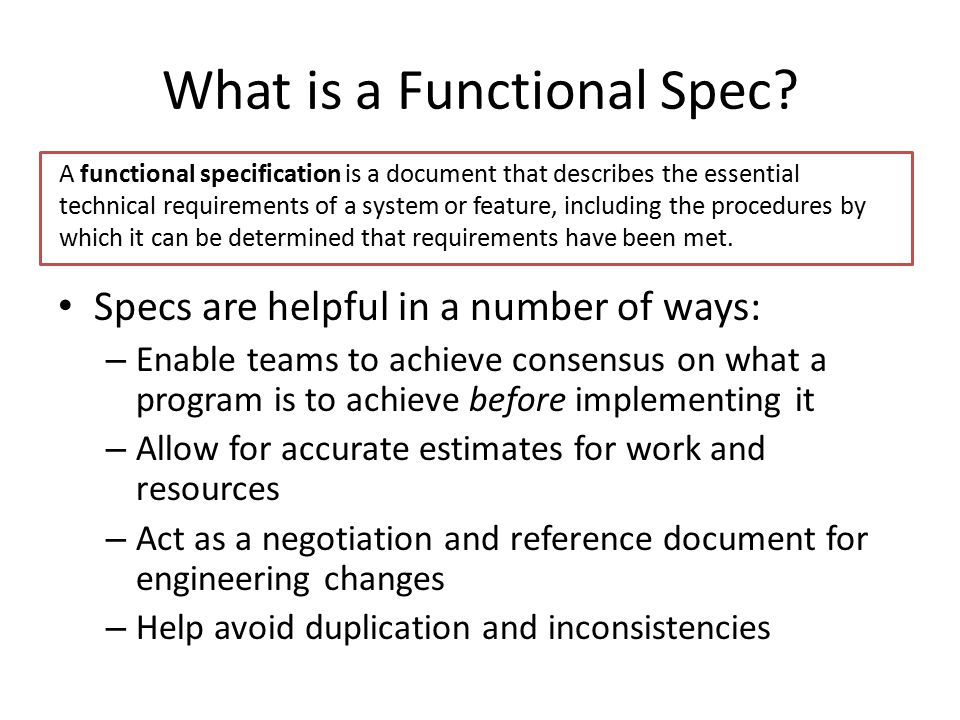 What is a Functional Spec
