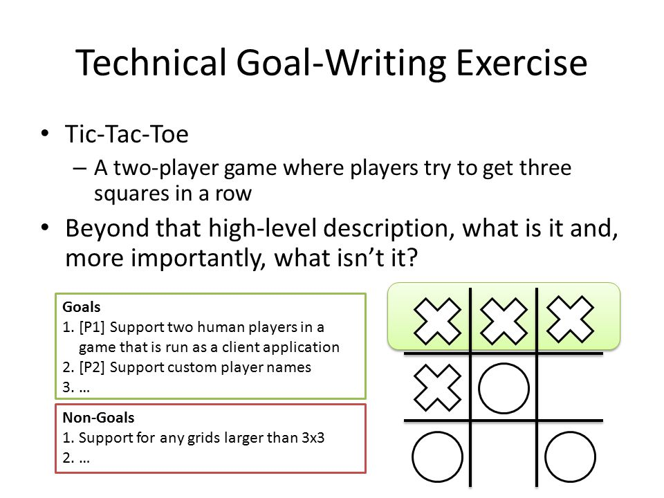 Technical Goal-Writing Exercise