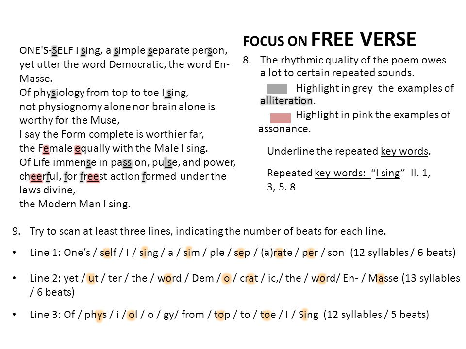 FOCUS ON FREE VERSE The rhythmic quality of the poem owes a lot to certain repeated sounds. Highlight in grey the examples of alliteration.