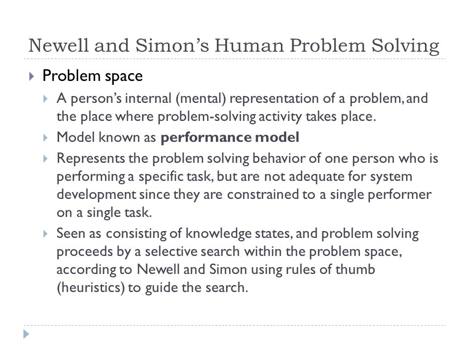 Newell and Simon's Human Problem Solving