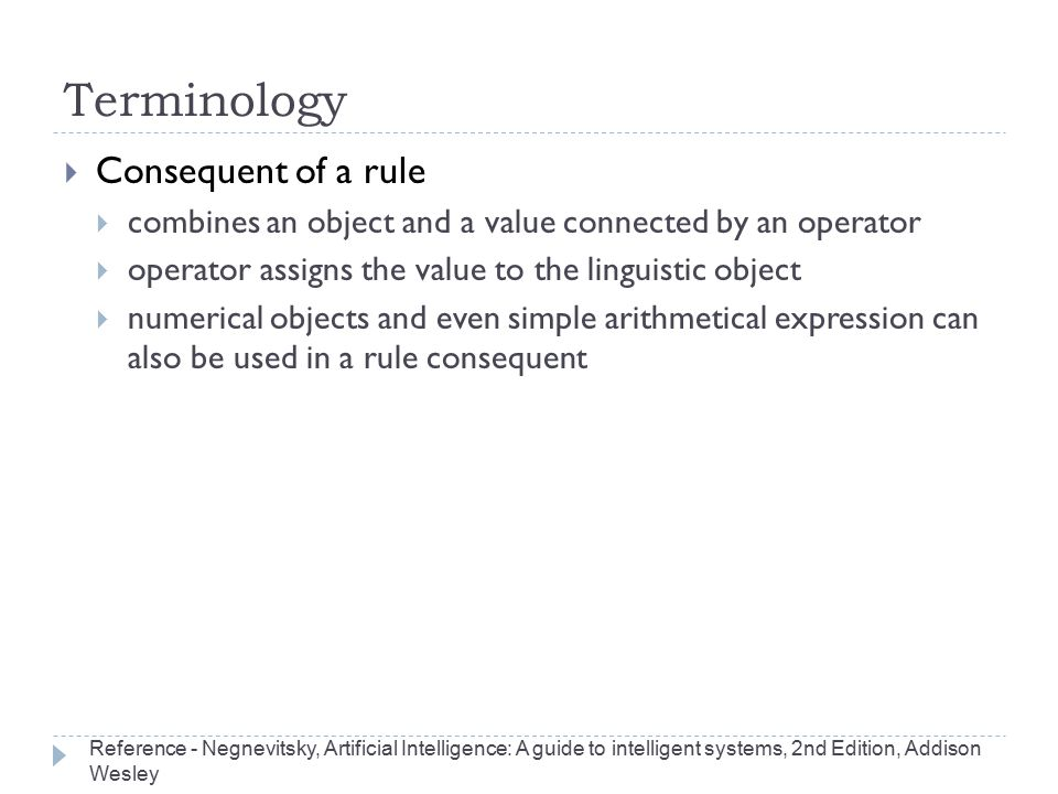 Terminology Consequent of a rule