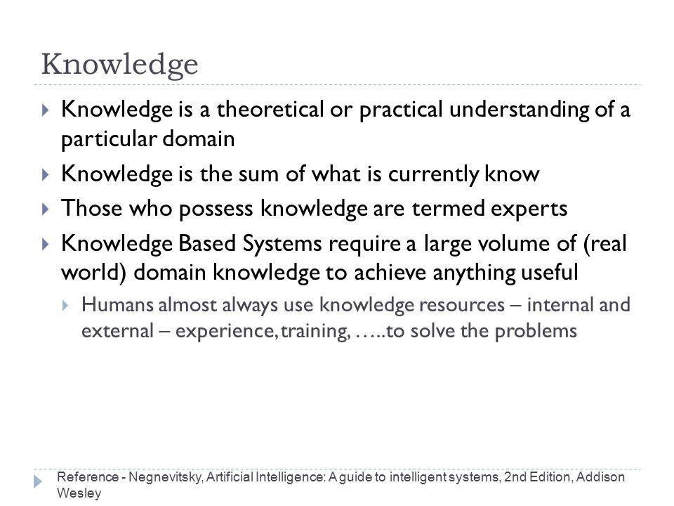 Knowledge Knowledge is a theoretical or practical understanding of a particular domain. Knowledge is the sum of what is currently know.