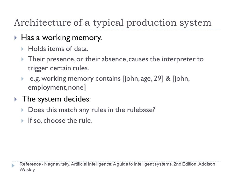 Architecture of a typical production system
