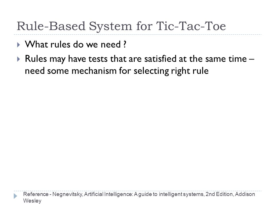 Rule-Based System for Tic-Tac-Toe