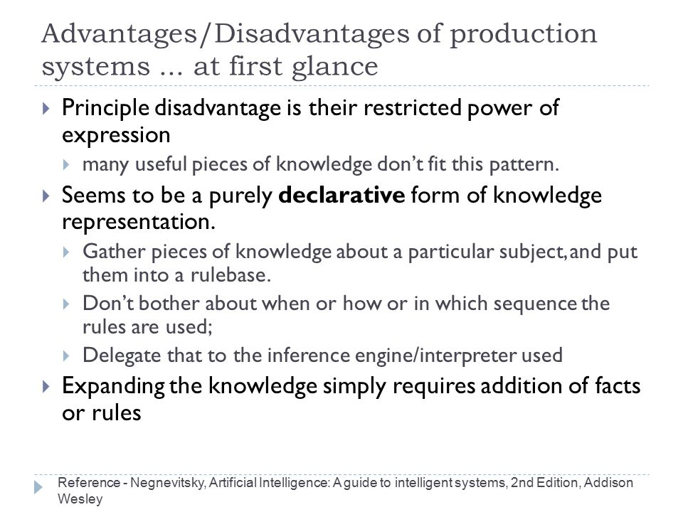 Advantages/Disadvantages of production systems ... at first glance