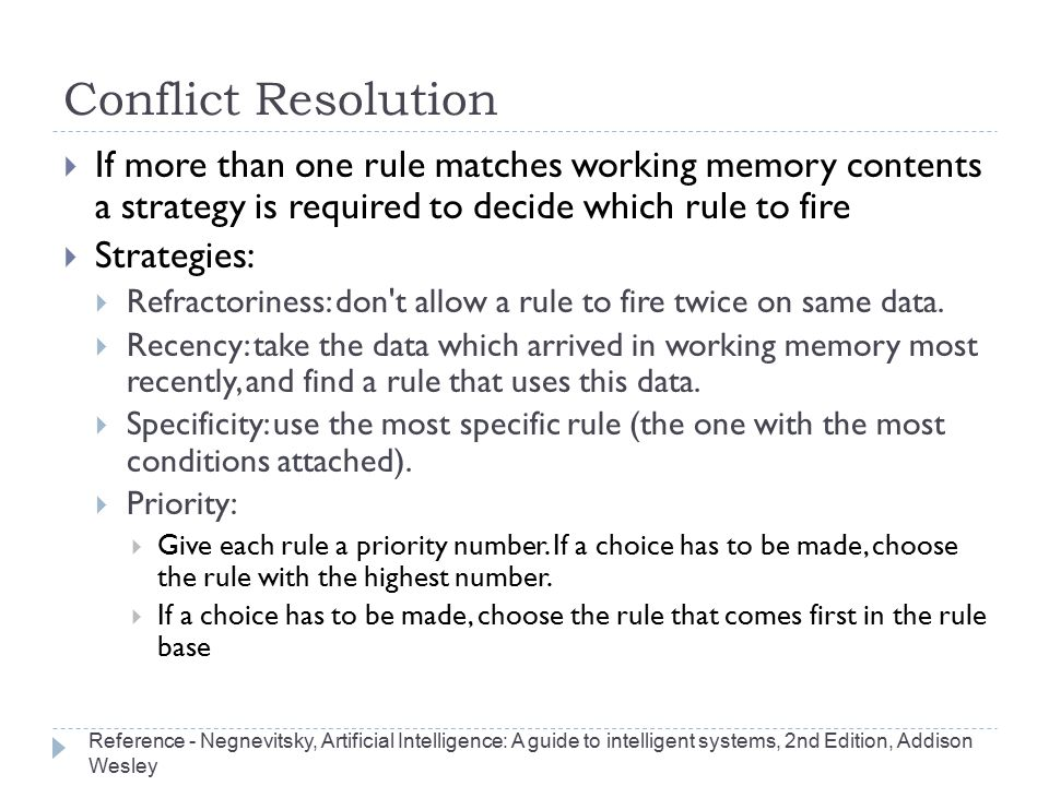 Conflict Resolution If more than one rule matches working memory contents a strategy is required to decide which rule to fire.