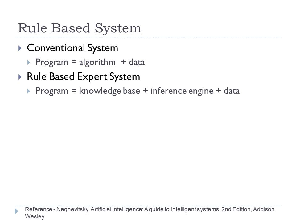 Rule Based System Conventional System Rule Based Expert System