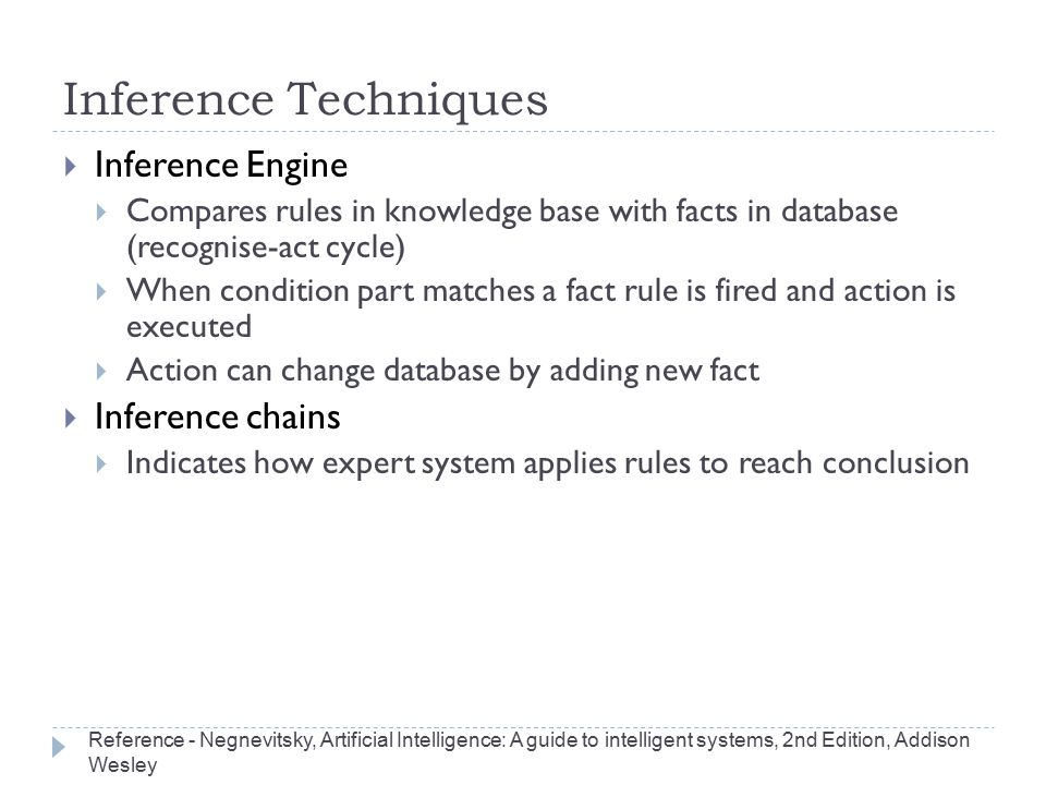 Inference Techniques Inference Engine Inference chains