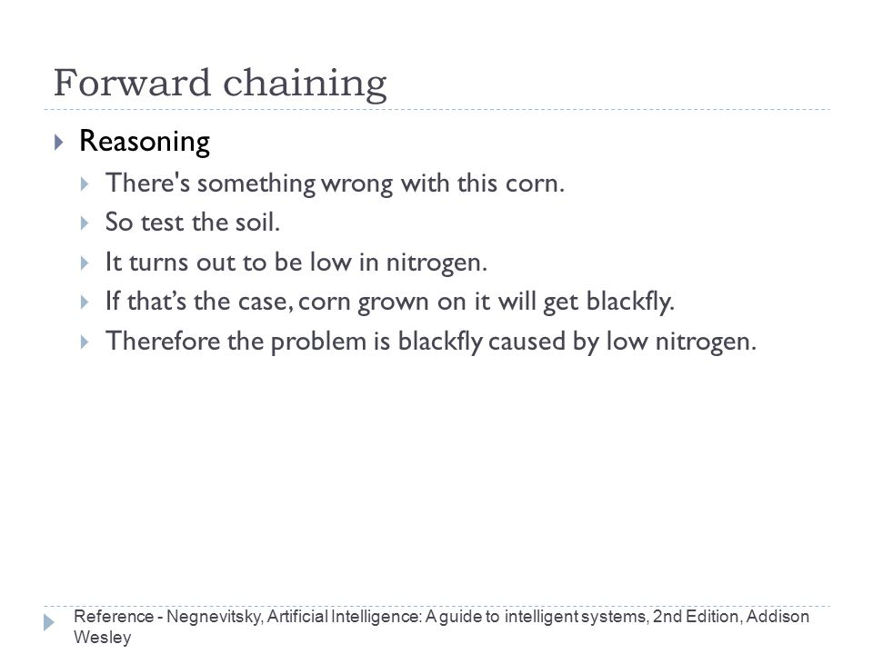 Forward chaining Reasoning There s something wrong with this corn.