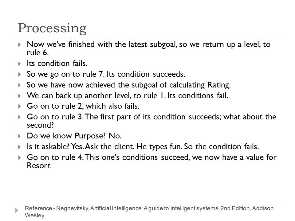 Processing Now we ve finished with the latest subgoal, so we return up a level, to rule 6. Its condition fails.