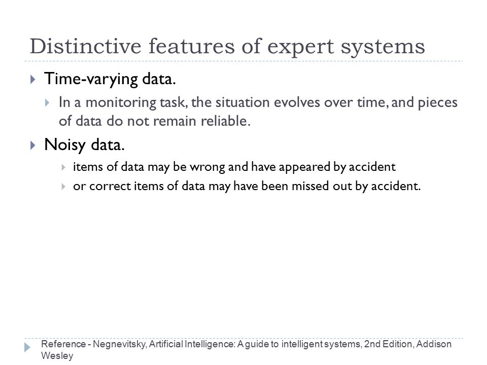 Distinctive features of expert systems