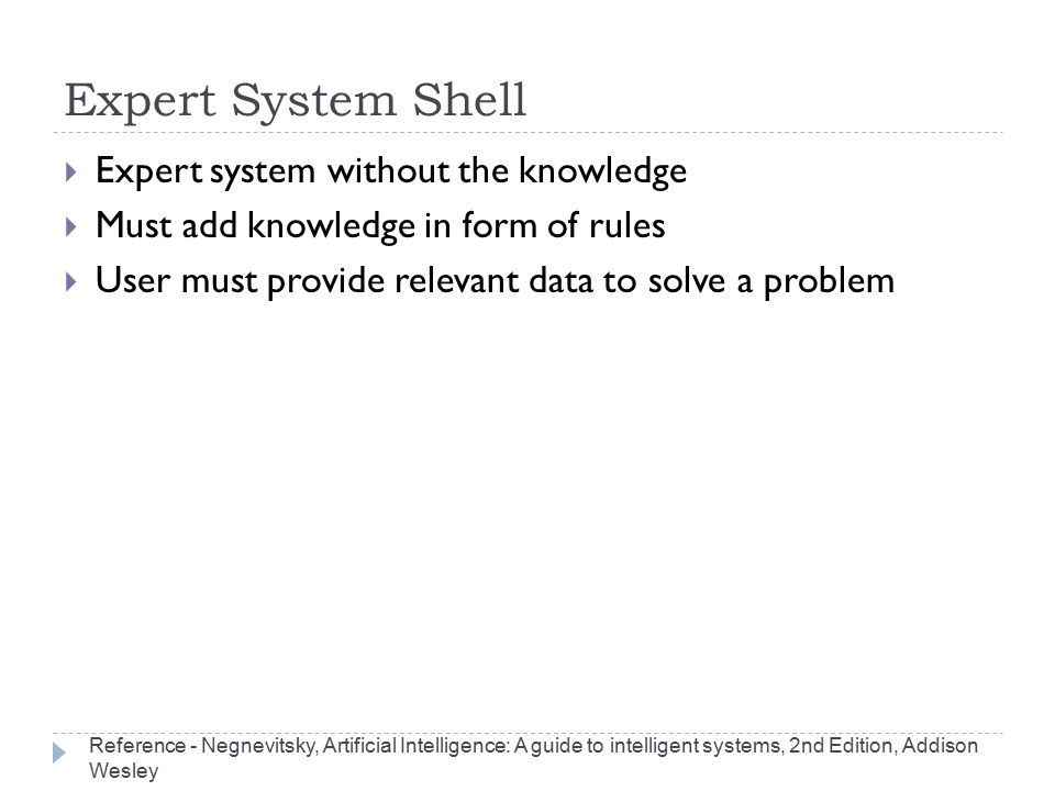 Expert System Shell Expert system without the knowledge