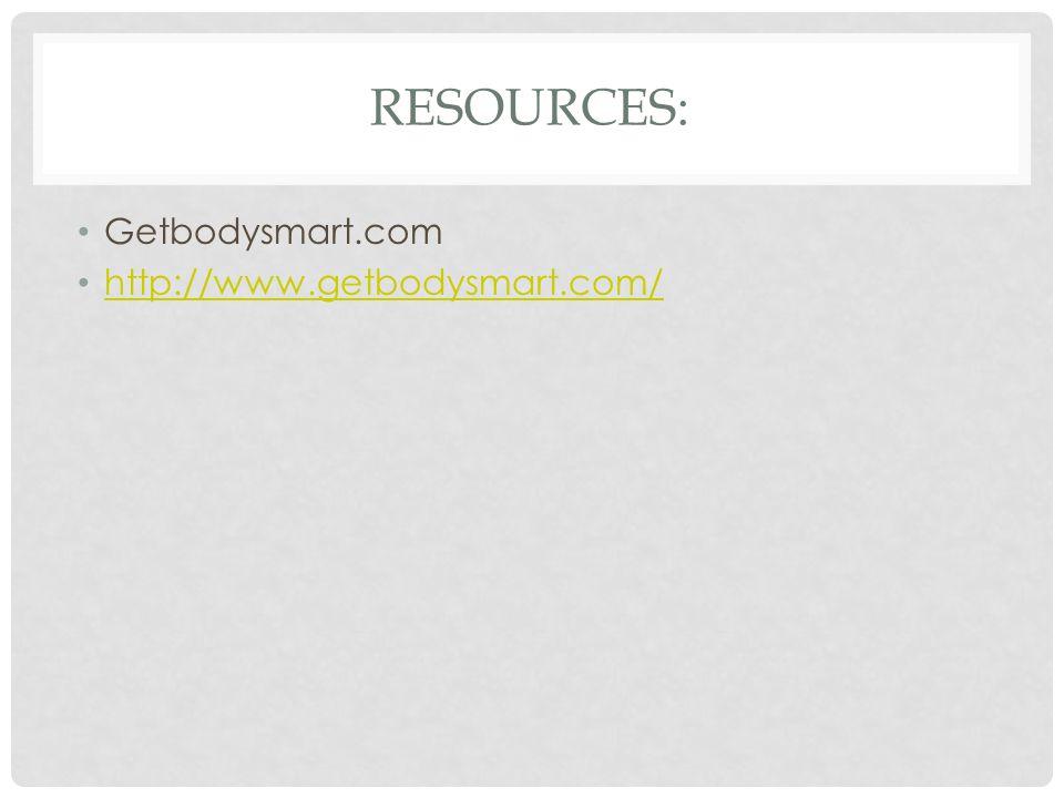 Resources: Getbodysmart.com http://www.getbodysmart.com/