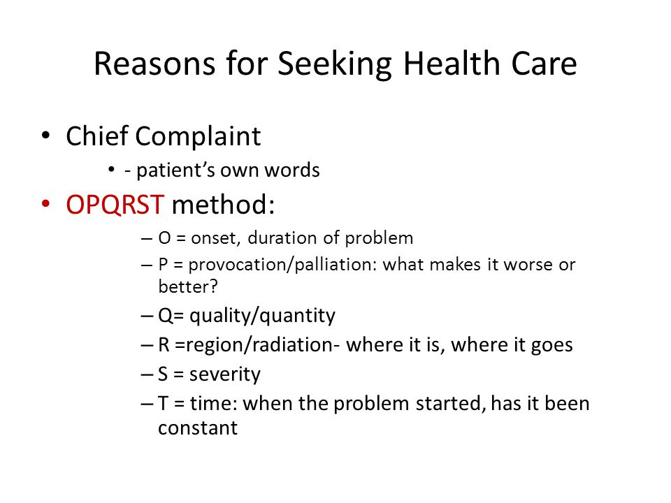 Reasons for Seeking Health Care