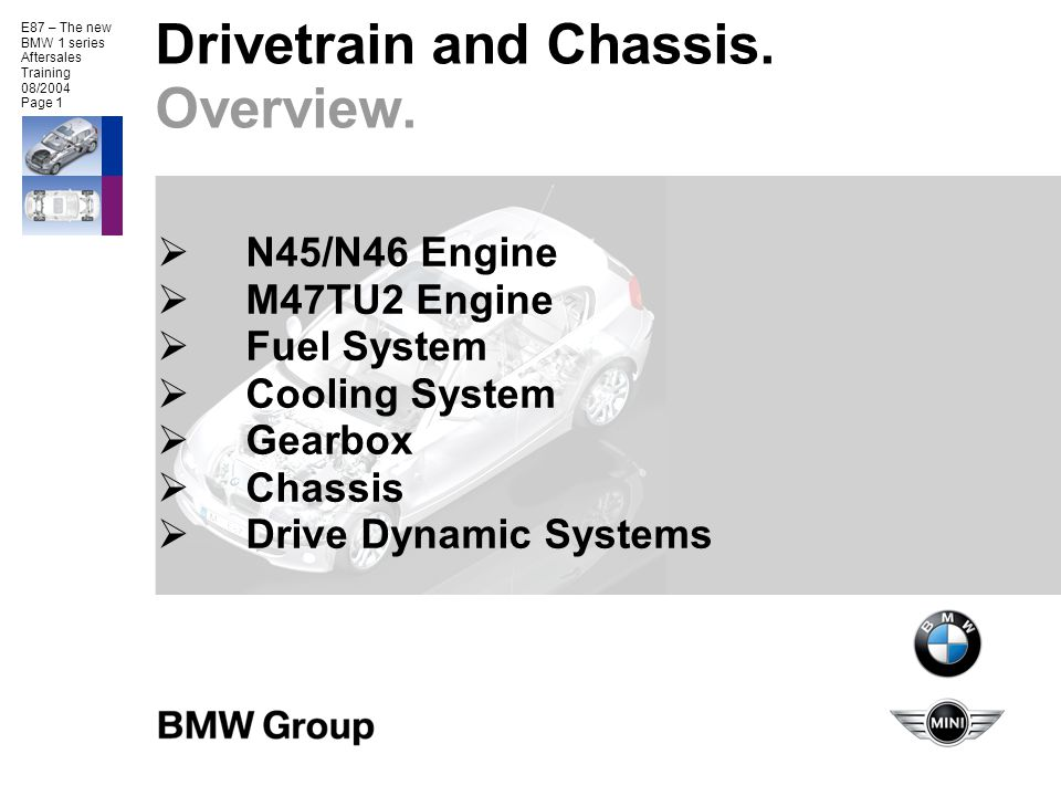 Drivetrain and Chassis. Overview.