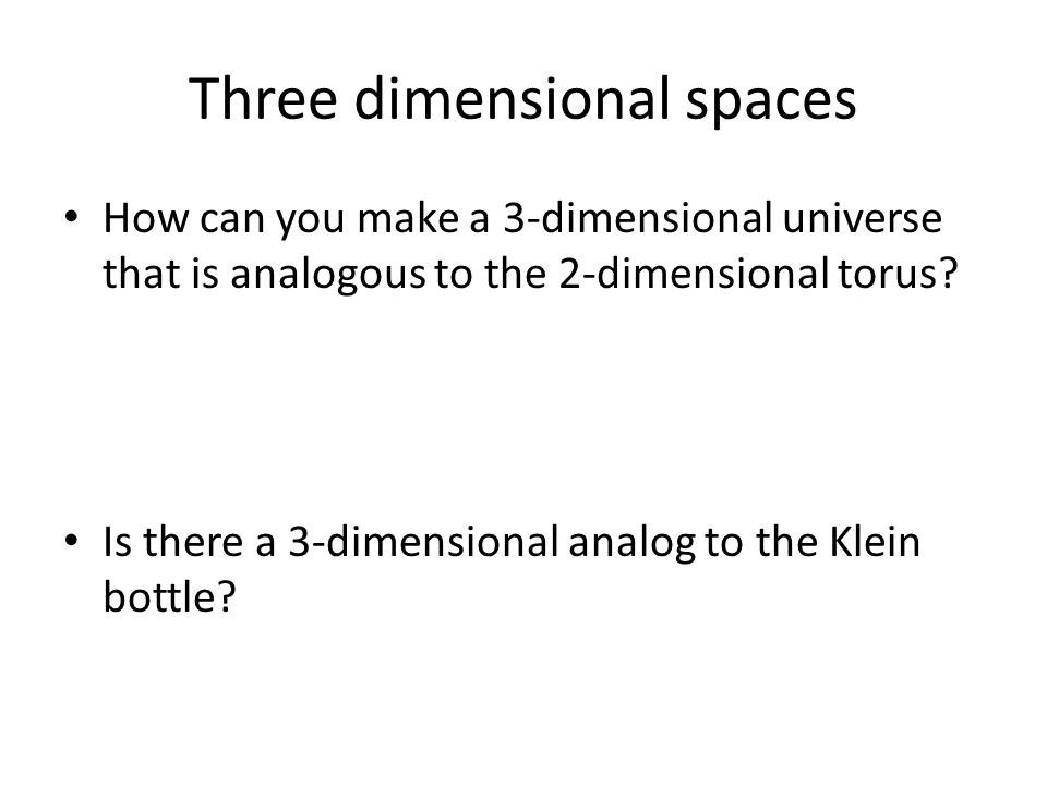 Three dimensional spaces