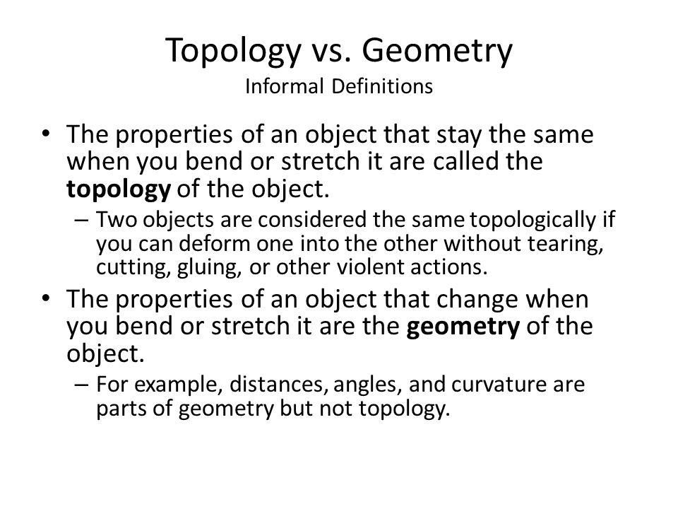 Topology vs. Geometry Informal Definitions