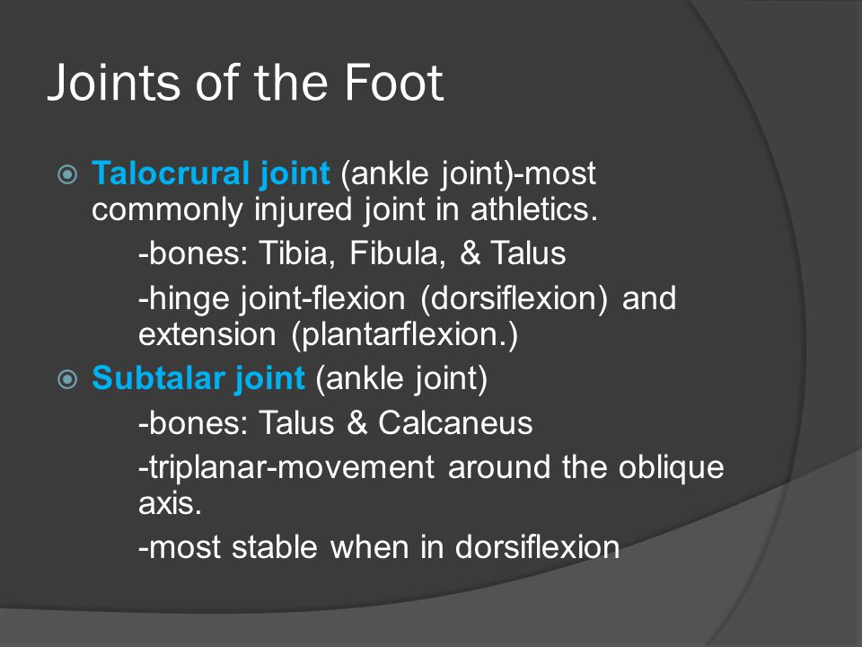 Joints of the Foot Talocrural joint (ankle joint)-most commonly injured joint in athletics. -bones: Tibia, Fibula, & Talus.