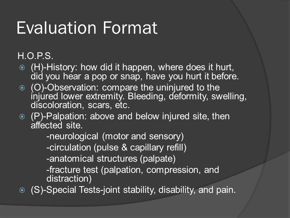 Evaluation Format H.O.P.S.