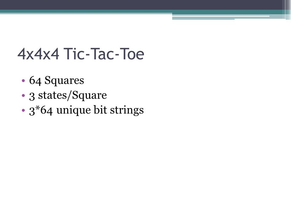 4x4x4 Tic-Tac-Toe 64 Squares 3 states/Square 3*64 unique bit strings
