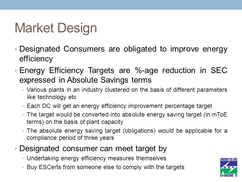Market Design Designated Consumers are obligated to improve energy efficiency.
