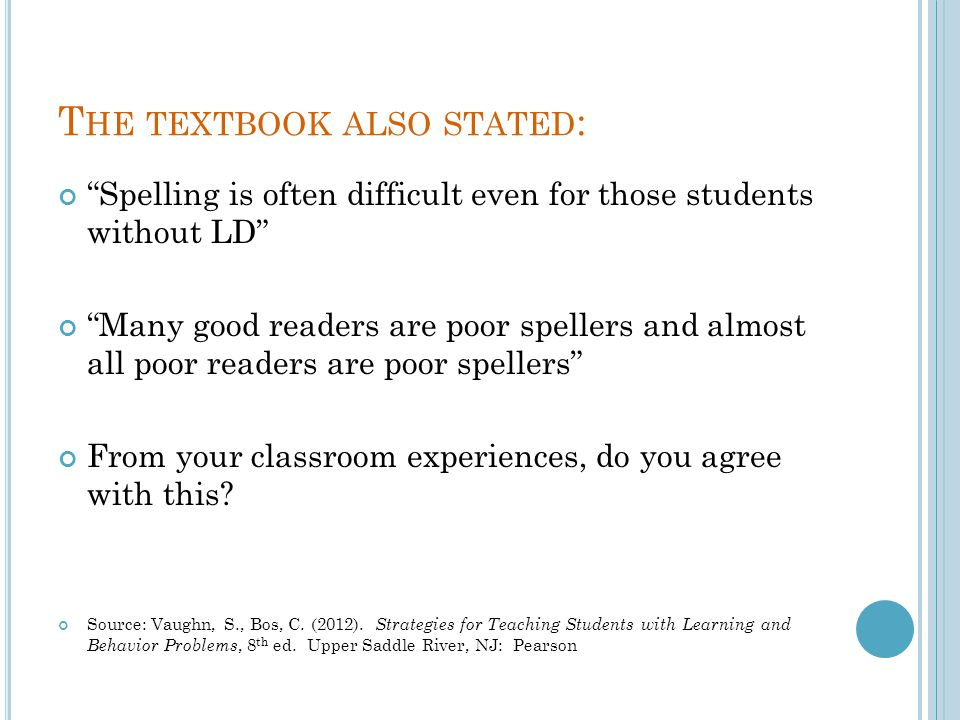 The textbook also stated: