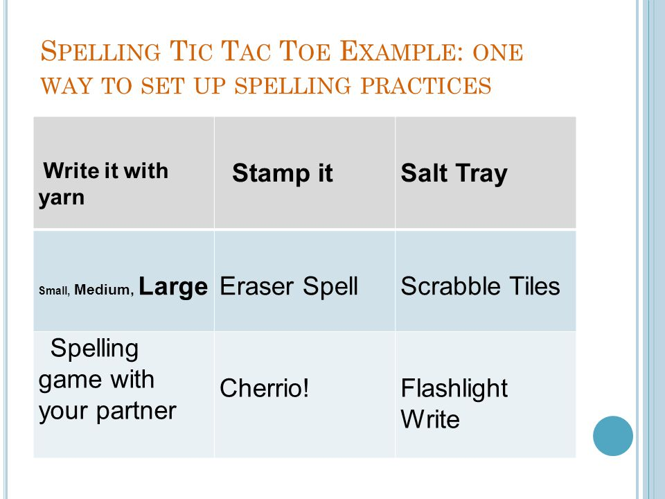 Spelling Tic Tac Toe Example: one way to set up spelling practices
