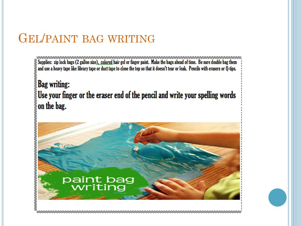 Gel/paint bag writing