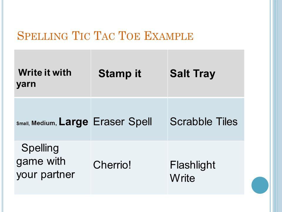 Spelling Tic Tac Toe Example