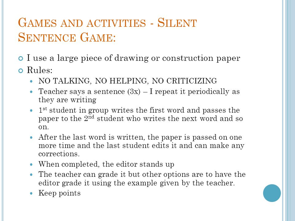 Games and activities - Silent Sentence Game: