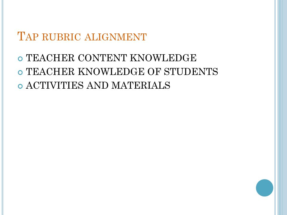 Tap rubric alignment TEACHER CONTENT KNOWLEDGE