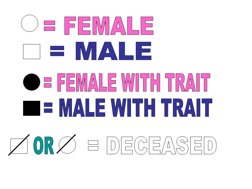 = FEMALE = MALE = FEMALE WITH TRAIT = MALE WITH TRAIT OR = DECEASED