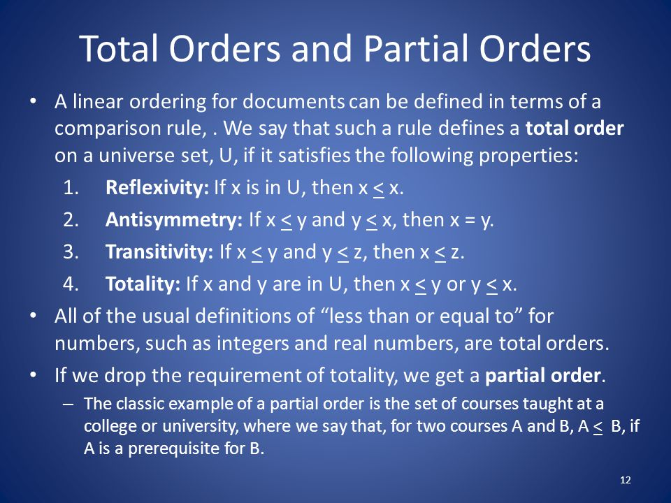 Total Orders and Partial Orders