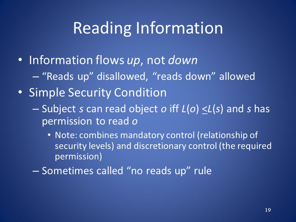 Reading Information Information flows up, not down