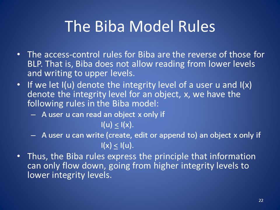 The Biba Model Rules