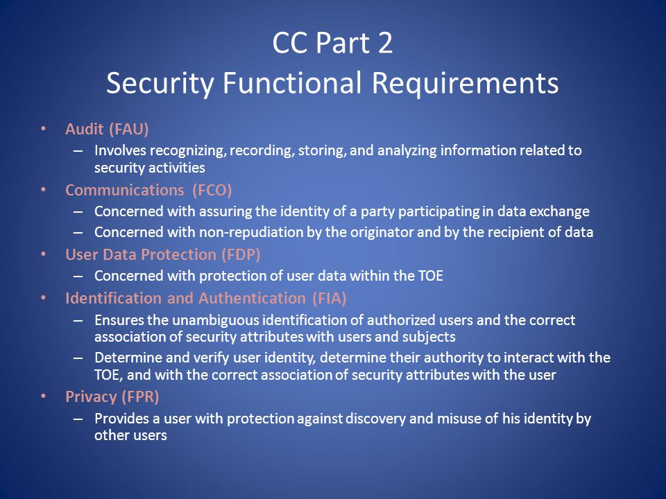 CC Part 2 Security Functional Requirements