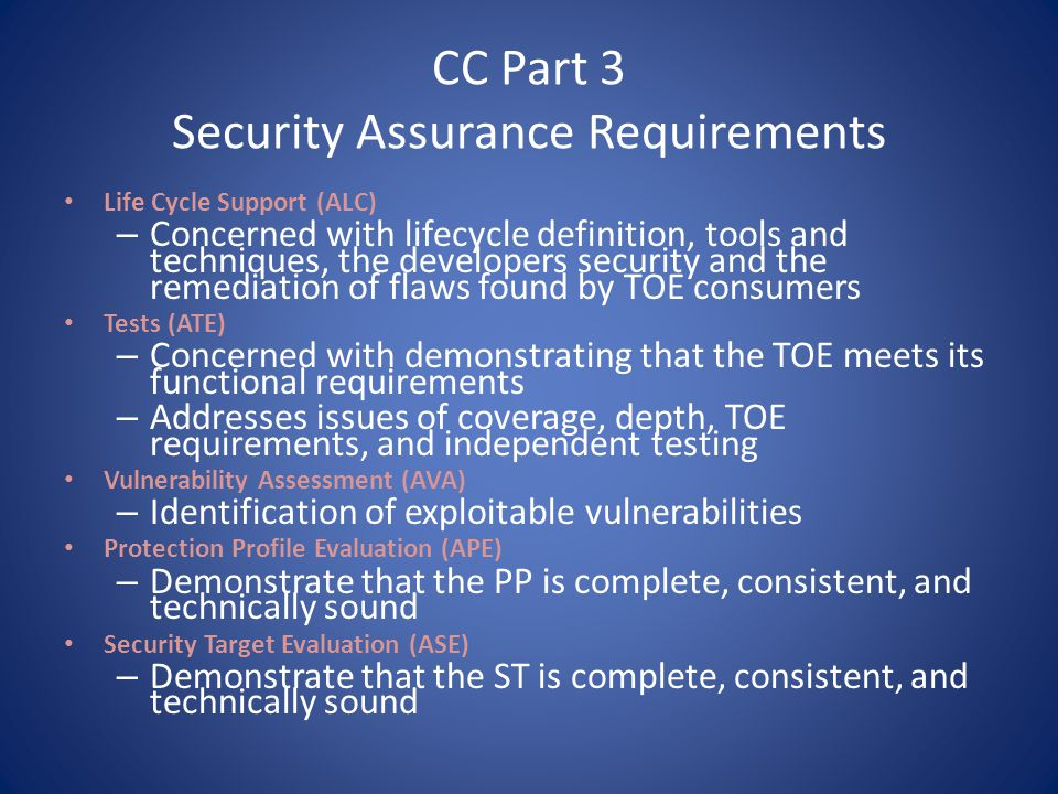 CC Part 3 Security Assurance Requirements