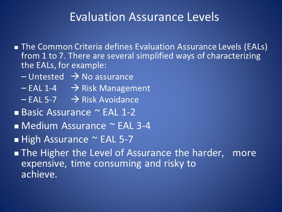 Evaluation Assurance Levels
