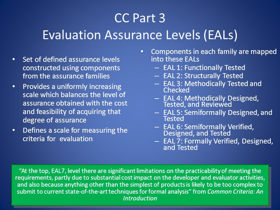 CC Part 3 Evaluation Assurance Levels (EALs)