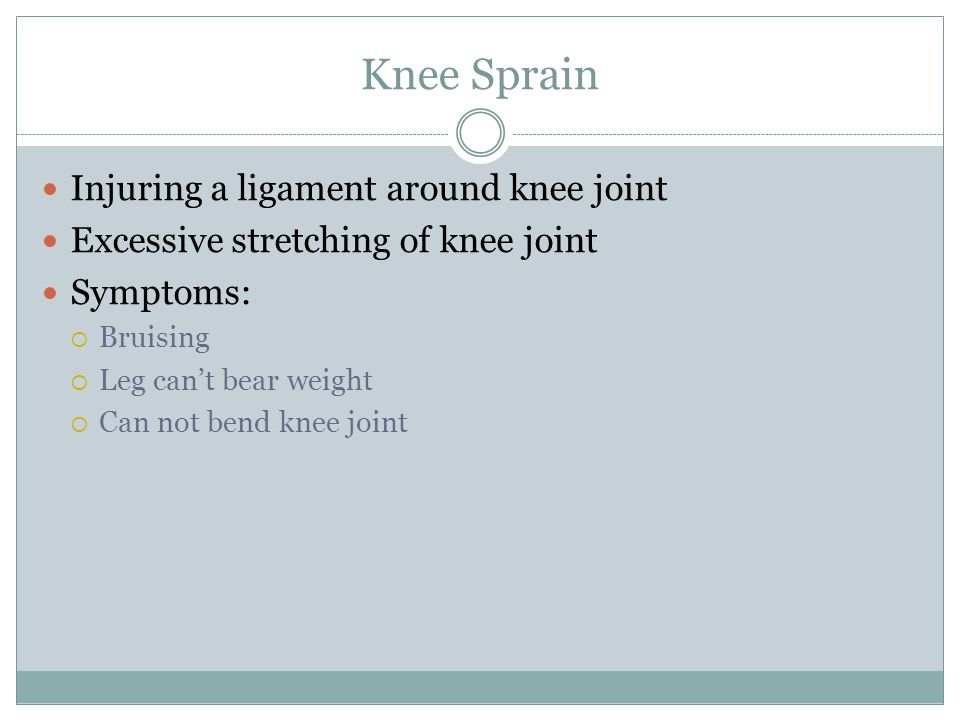 Knee Sprain Injuring a ligament around knee joint