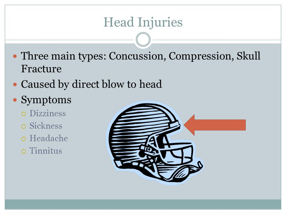 Head Injuries Three main types: Concussion, Compression, Skull Fracture. Caused by direct blow to head.