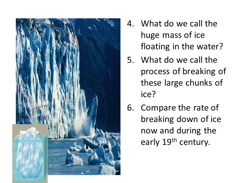 What do we call the huge mass of ice floating in the water