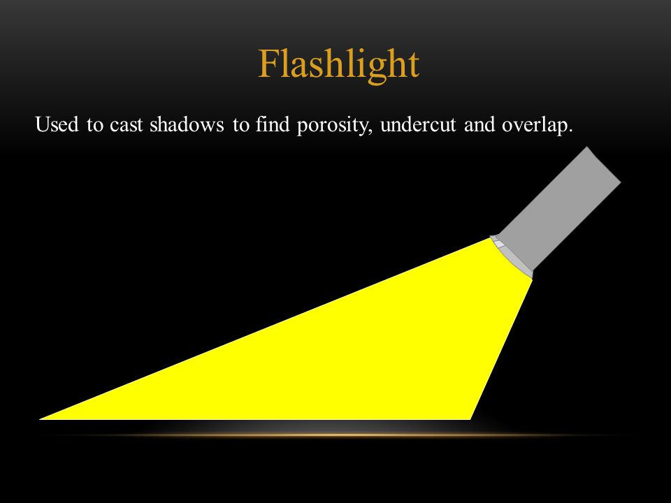 Flashlight Used to cast shadows to find porosity, undercut and overlap.